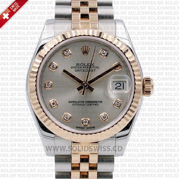 Rolex Datejust 31mm Jubilee Grey Diamonds 18k Rose Gold 2-Tone