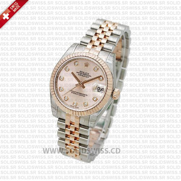 Rolex Datejust 31mm Jubilee Pink Diamonds 18k Rose Gold 2-Tone Swiss Replica