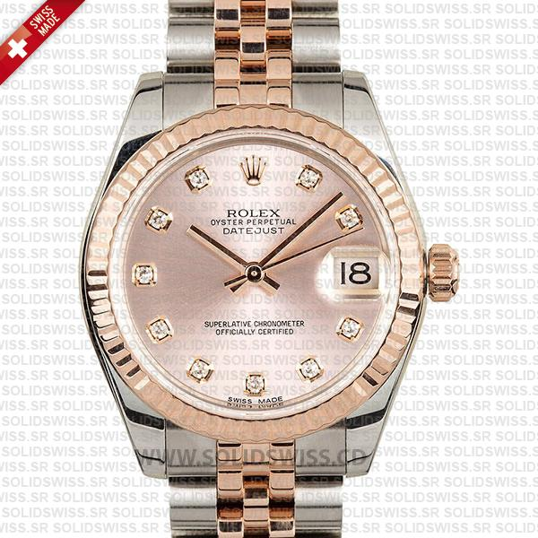Rolex Datejust Ladies 18k Rose Gold 904L Stainless Steel