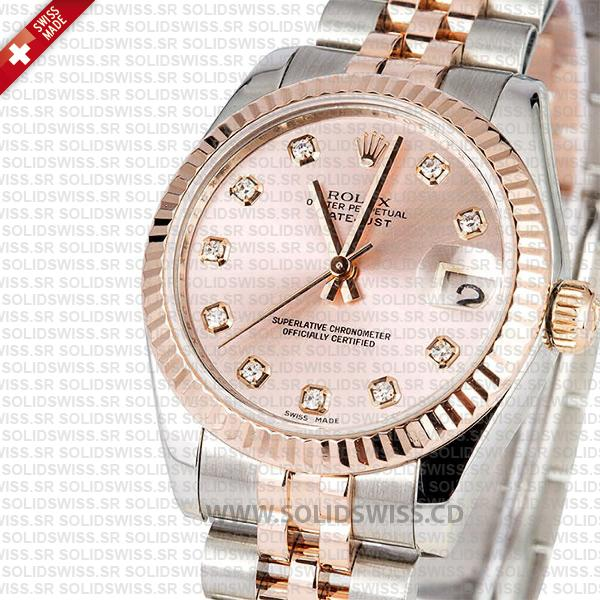 Rolex Datejust 31mm Two-Tone Rose Gold Pink Dial