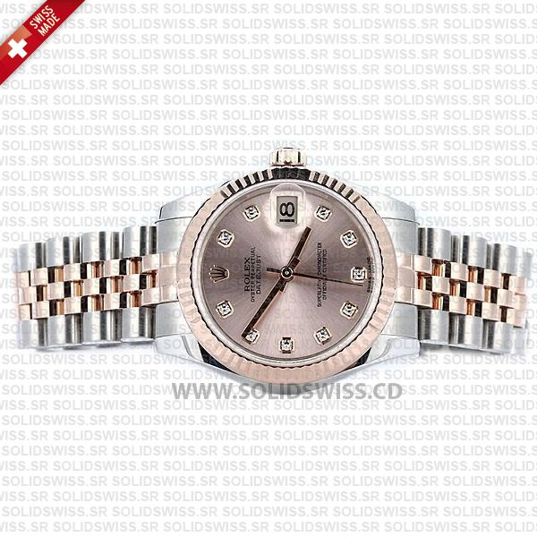 Rolex Datejust Ladies 18k Rose Gold 904L Stainless Steel Two-Tone