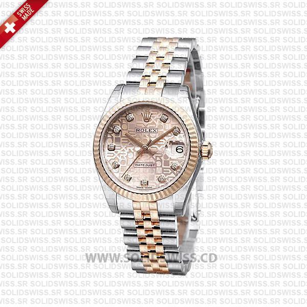 Rolex Datejust 31mm Two-Tone Pink Jubilee Dial Replica Watch