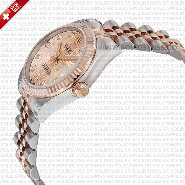 Rolex Datejust 31mm Jubilee Pink Jubilee Diamonds 18k Rose Gold 2-Tone Swiss Replica