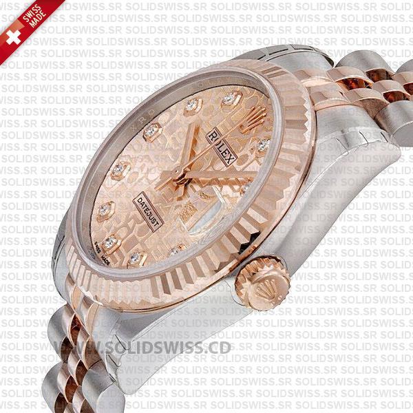 Women Rolex Datejust Two-Tone 18k Rose Gold Pink Jubilee Diamond Dial 31mm