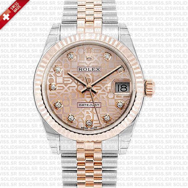 Women Rolex Datejust Two-Tone 18k Rose Gold Pink Jubilee Diamond Dial 31mm Jubilee Bracelet