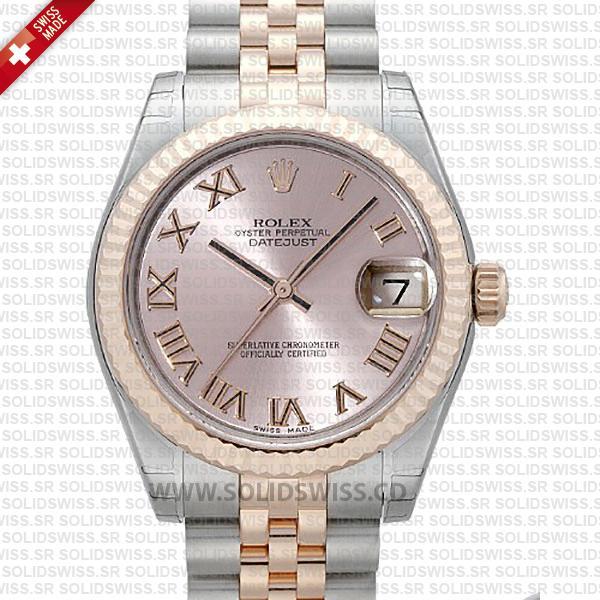 Rolex Datejust 31mm Oyster Pink Roman Fluted Bezel 18k Rose Gold 2-Tone Swiss Replica