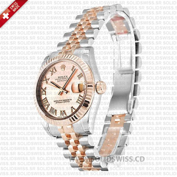 Replica Rolex Lady-Datejust Stainless Steel 18k Rose Gold Pink Dial with Roman Numerals