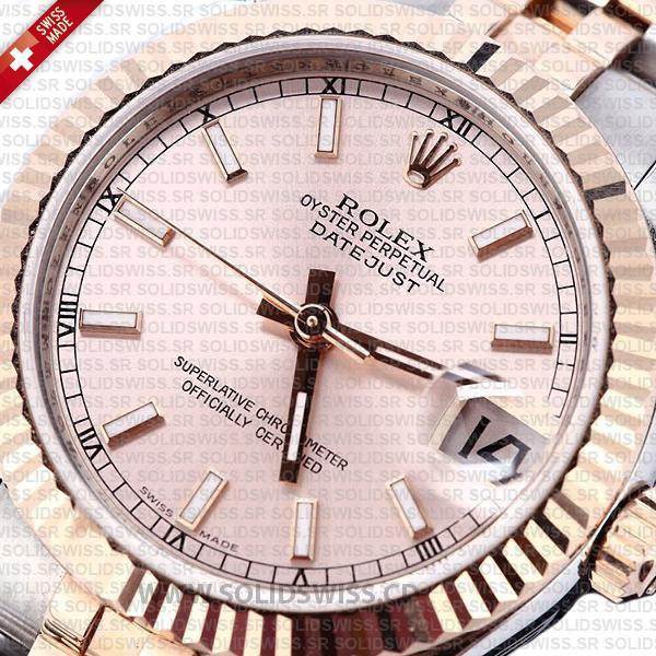 Rolex Datejust 31mm Oyster Pink Sticks Fluted Bezel 18k Rose Gold 2-Tone Swiss Replica