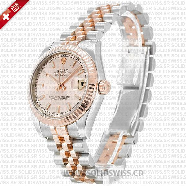 Rolex Datejust 31mm Oyster Pink Sticks Fluted Bezel 18k Rose Gold 2-Tone Swiss Replica