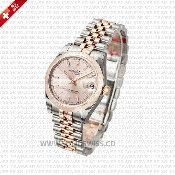 Rolex Datejust 31mm Jubilee Pink Sticks 18k Rose Gold 2-Tone Swiss Replica