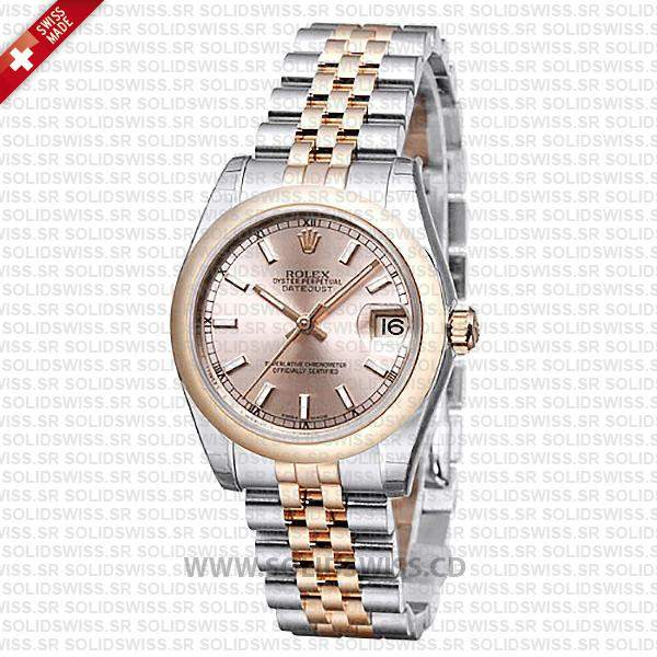Rolex Datejust Ladies Two-Tone 18k Rose Gold Pink Dial 31mm with 904L Stainless Steel Jubilee Bracelet