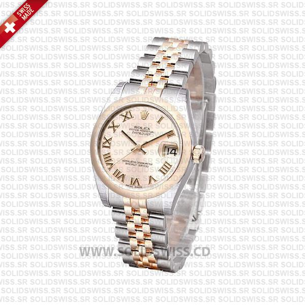 Rolex Datejust 31mm Jubilee 18k Rose Gold 2-Tone Rose Roman Swiss Replica