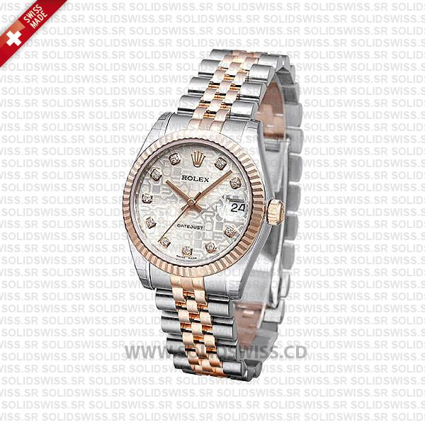 Rolex Datejust 31mm Jubilee Silver Jubilee Diamonds 18k Rose Gold 2-Tone Swiss Replica