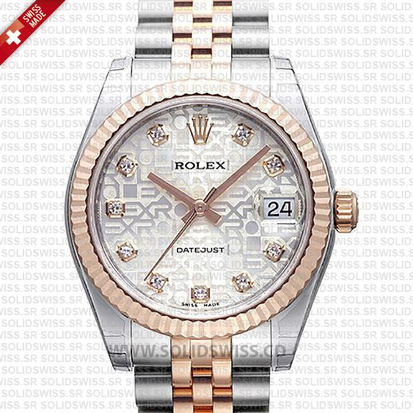 Rolex Datejust 31mm Two-Tone, 18k Rose Gold Silver Jubilee Diamond Dial