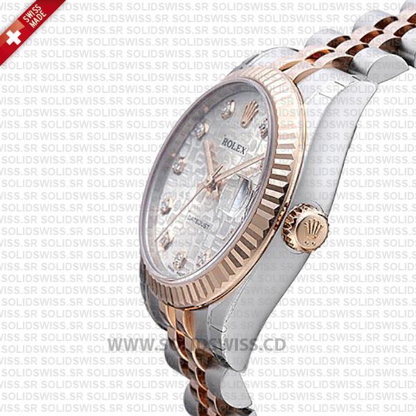 Rolex Datejust 31mm Jubilee Silver Jubilee Diamonds 18k Rose Gold 2-Tone Swiss Replica