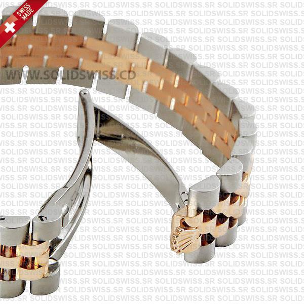 Rolex Datejust Two-Tone 18k Rose Gold White Diamond Dial Jubilee Bracelet