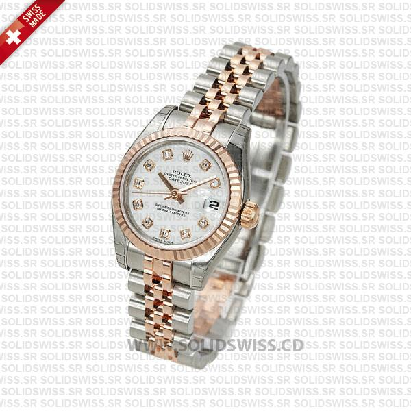 Rolex Datejust 18k Rose Gold Two-Tone White Dial | Solidswiss