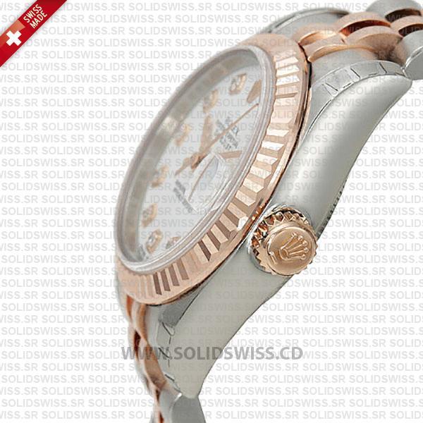 Rolex Datejust 18k Rose Gold Two-Tone White Dial Replica