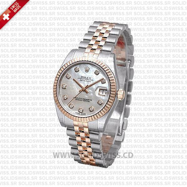 Rolex Datejust 31mm Jubilee White Mother Of Pearl Diamonds 18k Rose Gold 2-Tone Swiss Replica