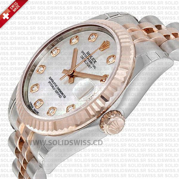 Rolex Datejust 31mm White Mother of Pearl Two-Tone 18k Rose Gold