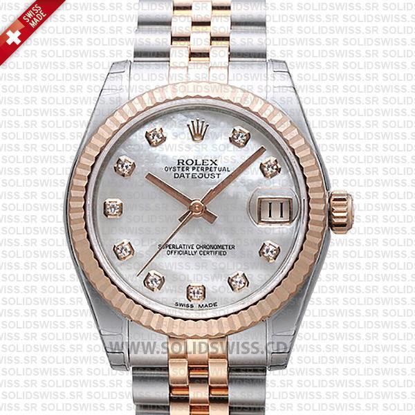 Rolex Datejust 31mm Two-Tone Rose Gold Replica