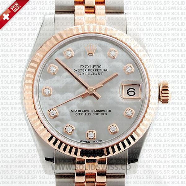 Rolex Datejust 31mm White Mother of Pearl Two-Tone Jubilee Bracelet