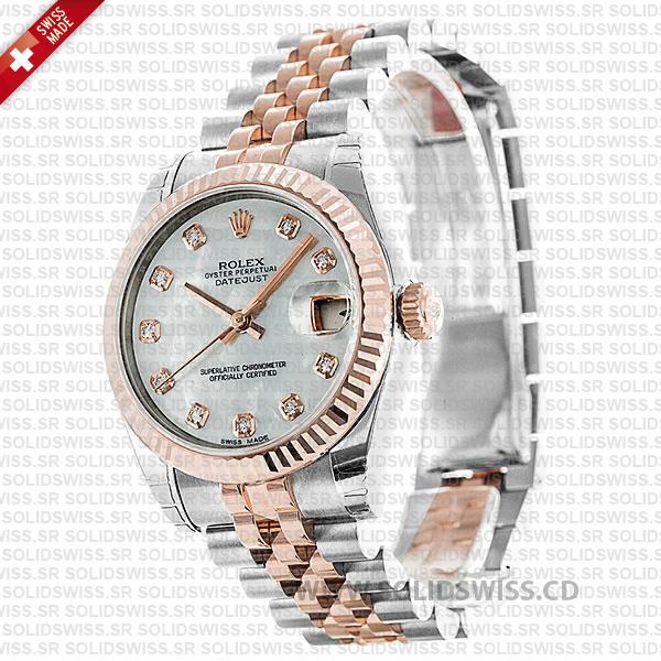 Rolex Datejust 31mm Jubilee White Mother Of Pearl Diamonds 18k Rose Gold 2-Tone Swiss Replica