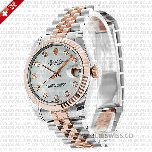 Rolex Datejust 31mm White Mother of Pearl Two-Tone 18k Rose Gold 904L Stainless Steel