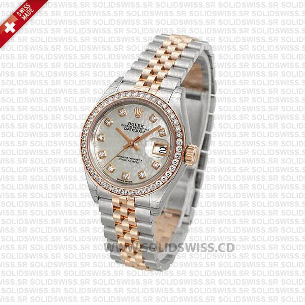 Rolex Datejust 31mm Jubilee White Mother Of Pearl Diamond Bezel 18k Rose Gold 2-Tone Swiss Replica