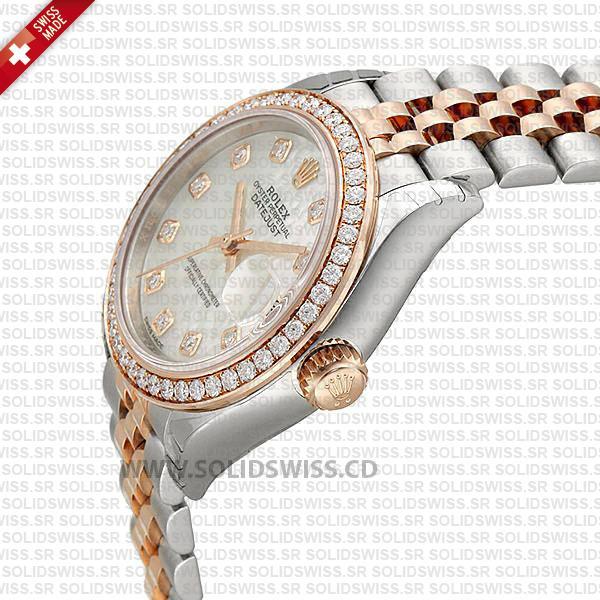 Rolex Datejust Ladies Two-Tone 18k Rose Gold White Diamond Dial