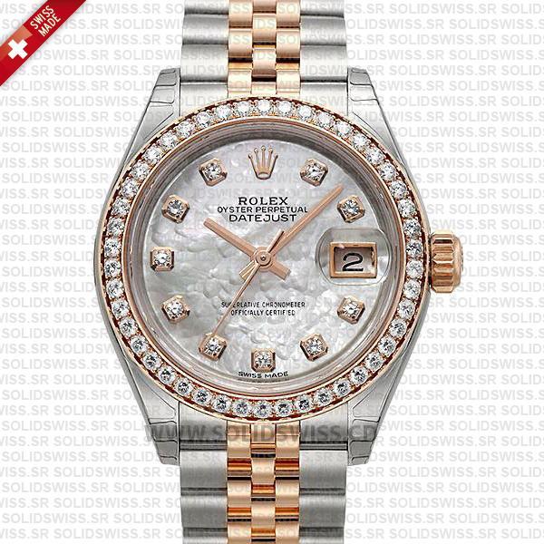 Rolex Datejust Ladies Two-Tone 18k Rose Gold White Diamond Dial Diamond Bezel 31mm