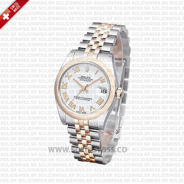 Rolex Datejust Two-Tone 31mm White Roman Dial Watch