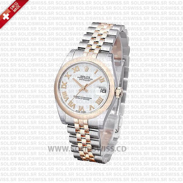 Rolex Datejust 31mm Jubilee White Roman 18k Rose Gold 2-Tone Swiss Replica