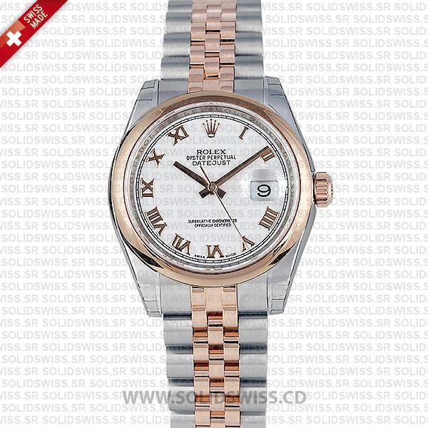 Rolex Datejust 18k Rose Gold White Roman Dial 31mm