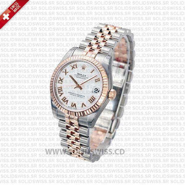 Rolex Datejust 31mm Jubilee White Roman Fluted Bezel 18k Rose Gold 2-Tone Swiss Replica