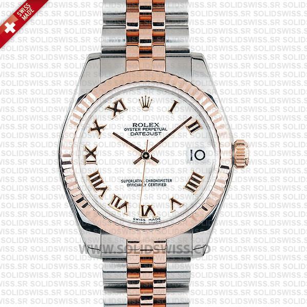 Rolex Datejust 31mm Two-Tone White Roman Dial