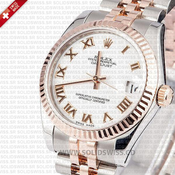 Rolex Oyster Perpetual Datejust Two-Tone 18k Rose Gold White Roman Dial