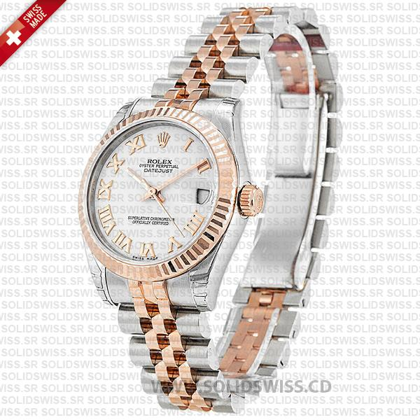 Rolex Oyster Perpetual Datejust Two-Tone 18k Rose Gold White Roman Dial 31mm