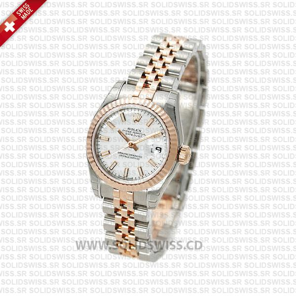 Rolex Datejust 31mm Oyster White Sticks Fluted Bezel 18k Rose Gold 2-Tone Swiss Replica