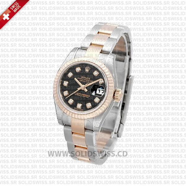 Rolex Datejust 31mm Oyster Black Diamond 18k Rose Gold 2-Tone Swiss Replica