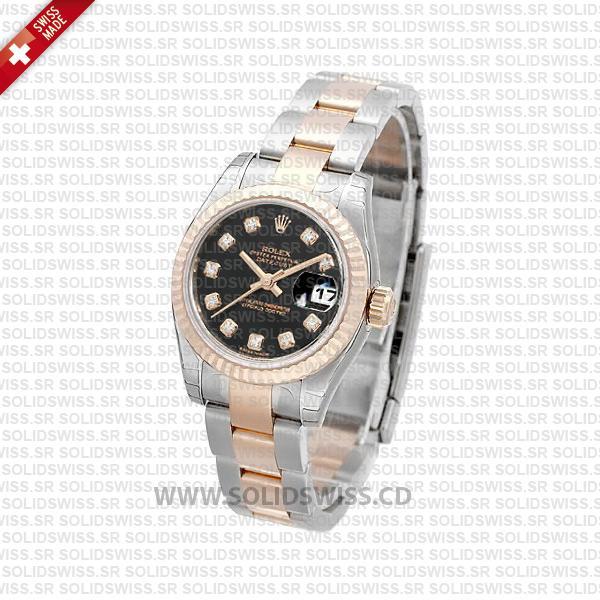 Rolex Datejust Two-Tone Black Diamond Dial | Solidswiss Watch