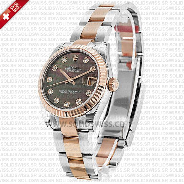 Rolex Datejust 31mm Oyster Black Mother Of Pearl Diamonds 18k Rose Gold 2-Tone Swiss Replica