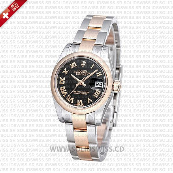 Rolex Datejust 31mm Oyster Black Roman 18k Rose Gold 2-Tone Swiss Replica