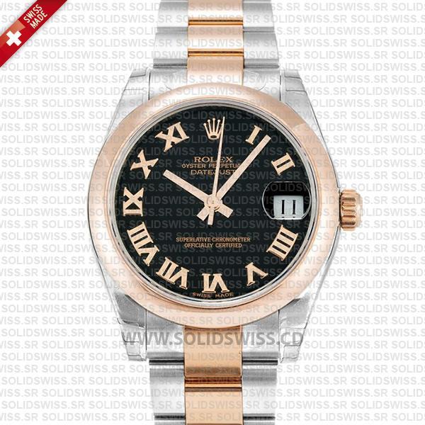 Rolex Datejust 31mm Oyster Black Roman 18k Rose Gold 2-Tone Swiss Replica