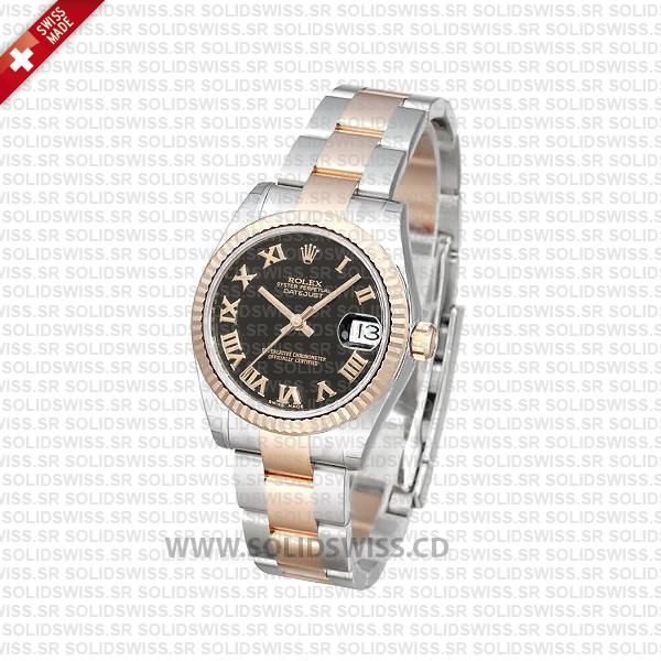 Rolex Datejust 31mm Oyster Black Roman Fluted Bezel 18k Rose Gold 2-Tone Swiss Replica