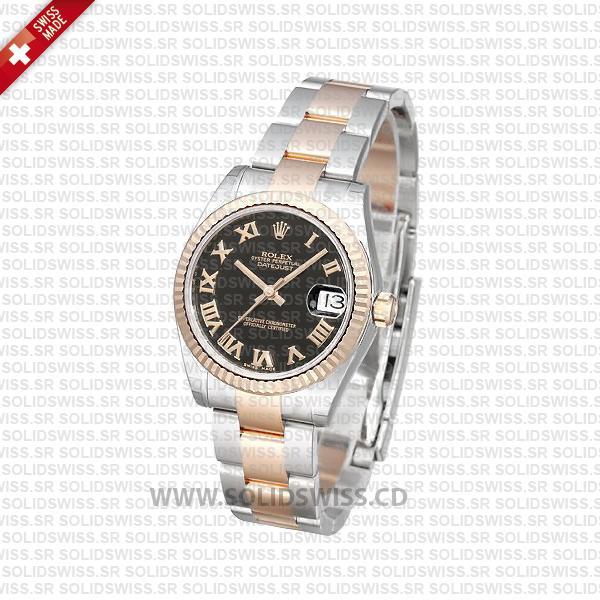 Rolex Datejust 31mm Two-Tone Black Roman Dial Swiss Watch
