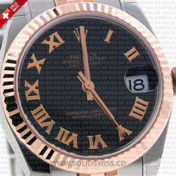 Rolex Datejust 18k Rose Gold Two-Tone Black Roman Dial, Oyster Bracelet with Fluted Bezel