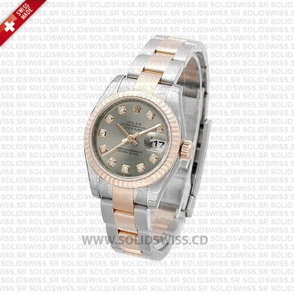 Rolex Datejust 31mm Oyster Silver Diamond 18k Rose Gold 2-Tone Swiss Replica