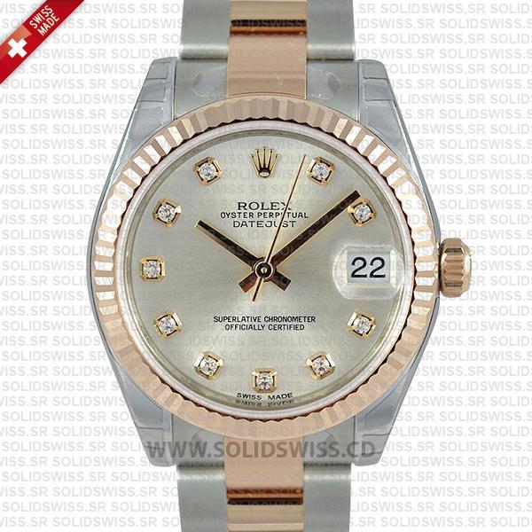 Rolex Datejust 31mm Oyster Grey Diamond 18k Rose Gold 2-Tone Swiss Replica