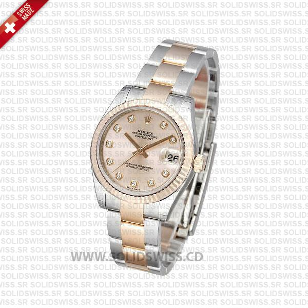 Rolex Datejust 31mm Oyster Pink Diamond 18k Rose Gold 2-Tone Swiss Replica